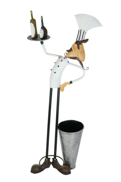 Happy Waiter Holding Tray & Large Pail wine bottle holder Kitchen Display Stand