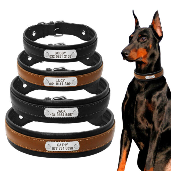 Black Personalized Dog Collars Genuine Leather Soft Padded Large Dogs Collar $13.99