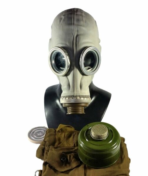 Soviet russian military Gas mask GP 5. Grey rubber Full set. RARE Size LARGE