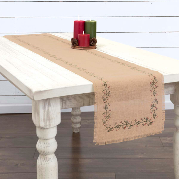 New Primitive Farmhouse HOLLY BERRY VINE BURLAP Table Runner 48quot;