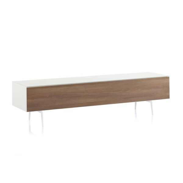 SONOROUS Studio ST-360 Modern Wood and Glass TV Stand - White