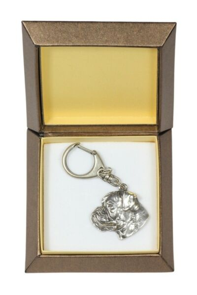 Boxer silver plated keyring with image of a dog in box Art Dog USA $22.09