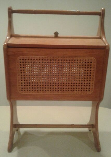 Vintage WoodWicker Sewing Box Standing Style Wooden Storage Chest Craft Cabinet