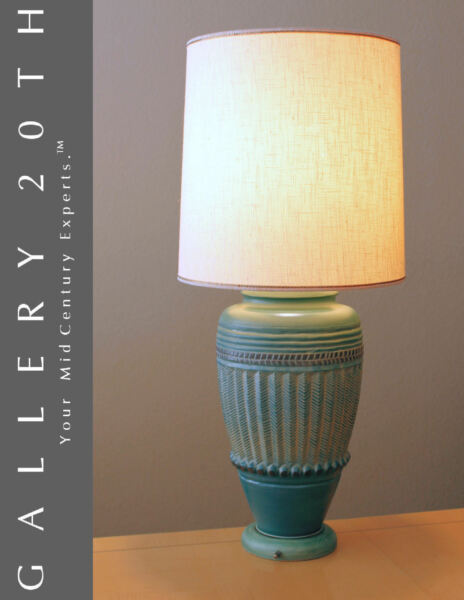 GREEK REVIVAL MID CENTURY TABLE LAMP! EAMES VTG BLUE GREEN LAMPEN LUMINAIRE 60'S
