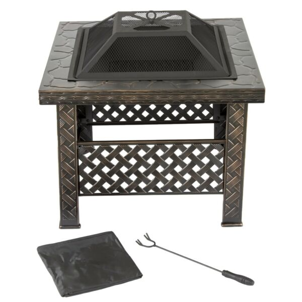 Outdoor Fire Pit Square Metal w Spark Screen Wood Burning Backyard Patio Heater