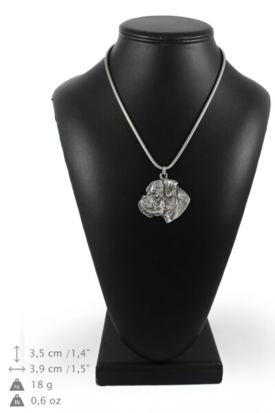 Boxer silver plated necklace on silver cord Art Dog USA $97.14