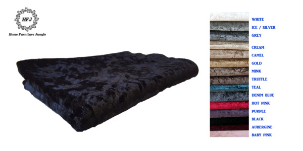 Premium Crushed Velvet Fabric Crafts Curtains Sofa Beds Upholstery 15 Colours