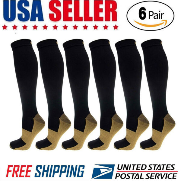 6 Pairs Compression Socks 20-30mmHg Graduated Men Women Sport Socks S-XXL