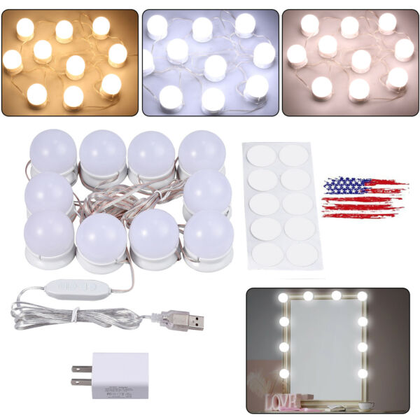 4000K 3 Colors Vanity LED Makeup Hollywood Mirror Light Kit + Dimmable 10 Bulbs