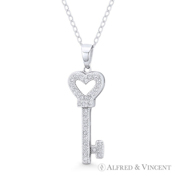 Heart Bow CZ Love Charm Skeleton Key Pendant & Necklace in .925 Sterling Silver