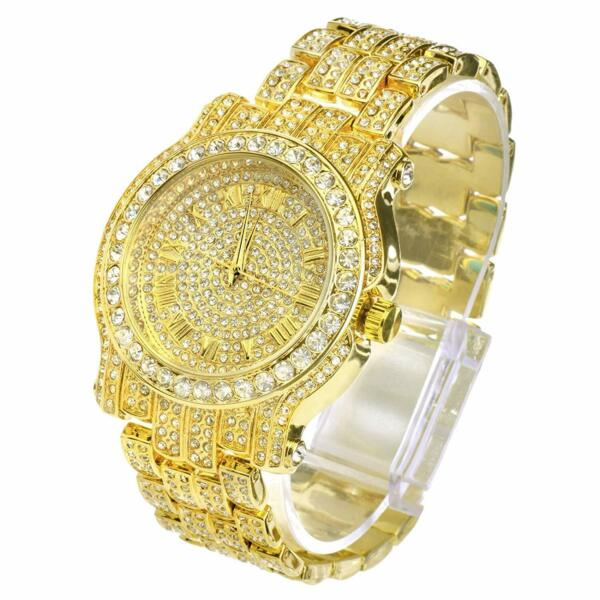 Men Hip Hop Iced out Gold  Simulated Crystal Rapper Watch