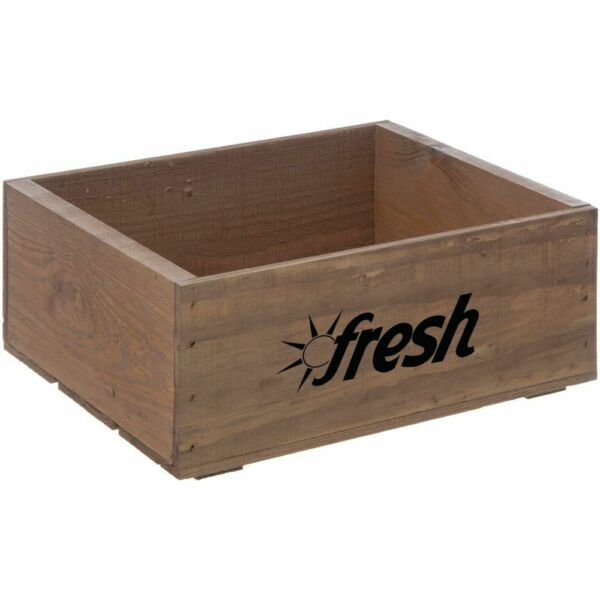 Produce Wood Crate With Fresh Logo Rectangular Early American Stained - 14 34 L