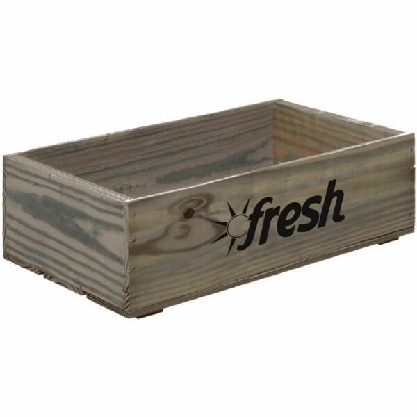 Wood Produce Crate With Fresh LogoRectangular Weatherwood Stained - 19 34 L x