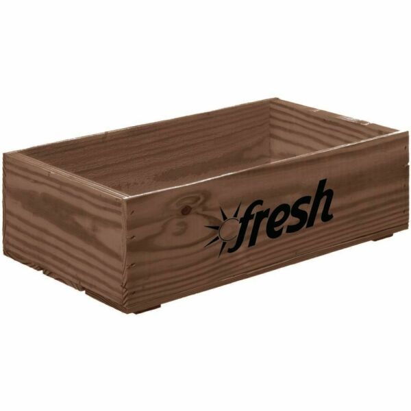 Produce Wood Crate With Fresh Logo Rectangular - 19 34 L x 11 14 W x 5 78 H