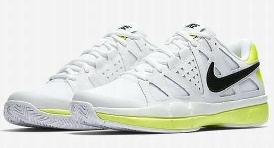 Nike Air Vapor Advantage Tennis Shoe Men's Sizes White Volt Black 599359 108 Fly