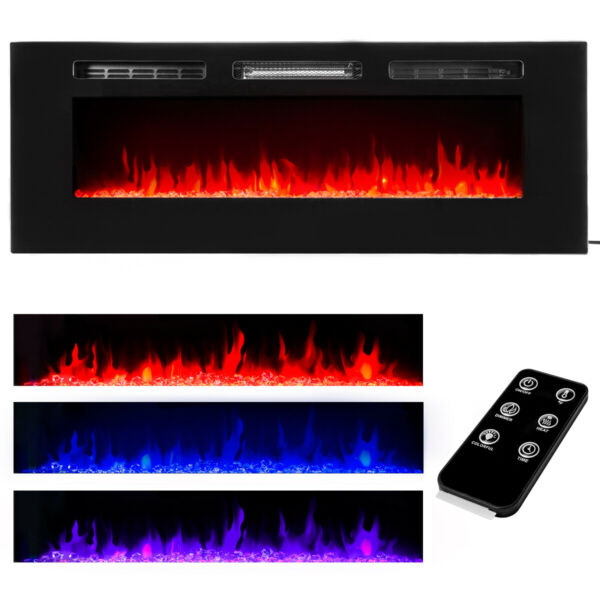 50quot; Electric Fireplace Recessed insert or Wall Mounted Standing Electric Heater $329.99