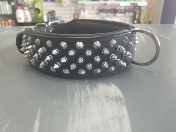 POWER UP® Handmade REAL Leather Dog Collar spikes $69.99
