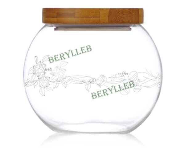 Hermetic Clear Glass Tea Caddy wt Bamboo Lid 1200ml 40.3fl. oz * Free Shipping