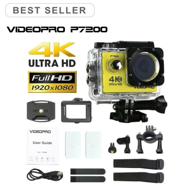 VIDEOPRO HD 4K WIFI Underwater Action Sports Camera 16MP 2 inch LCD Yellow