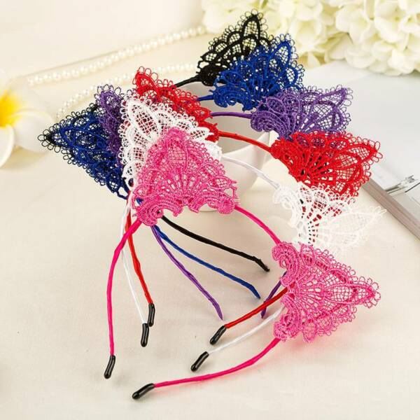 Women Lace Cat Ears Headband Sexy Hair Hoop Fashion Hair Accessories Headwear