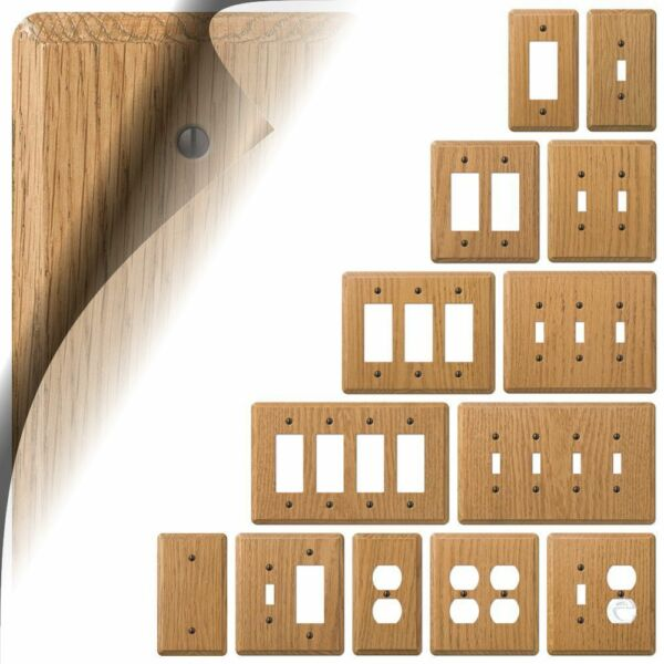 Light Oak Wood Switch Plate Cover Contemporary Outlet Rocker Toggle Duplex GFI $5.89