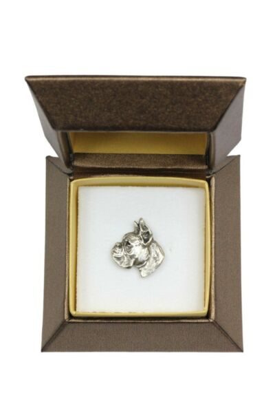 Boxer silver plated pin with image of a dog in box Art Dog USA $15.56