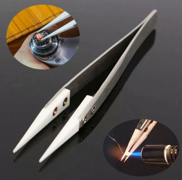 WATCHMAKERS TWEEZERS WITH WHITE CARBON FIBRE HARD TIPS $8.95
