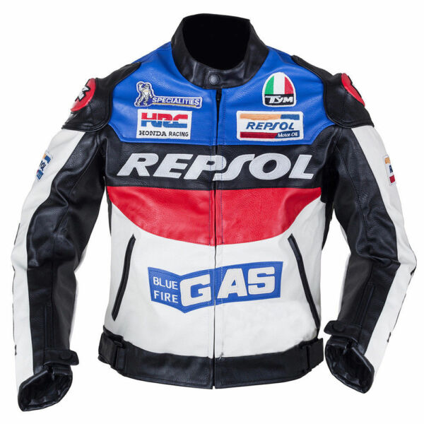 Repsol Blue Fire GAS Motorcycle Motorbike Rider#x27;s Racing Leather Jacket for Men
