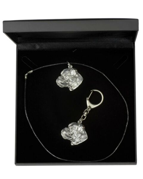 Boxer silver plated necklace keyring with a dog black box Art Dog USA $54.02