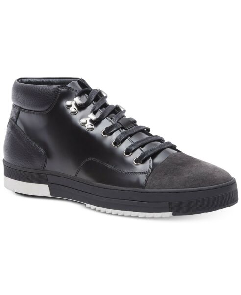 Kenneth Cole Men's Mid-Top Leather and Suede Sneaker Design 10648 Black US 8.5