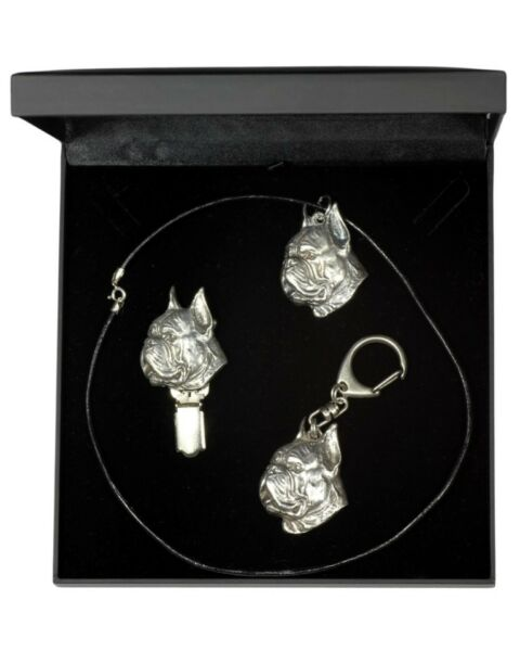 Boxer silver plated set with a dog in box high quality Art Dog USA $74.38