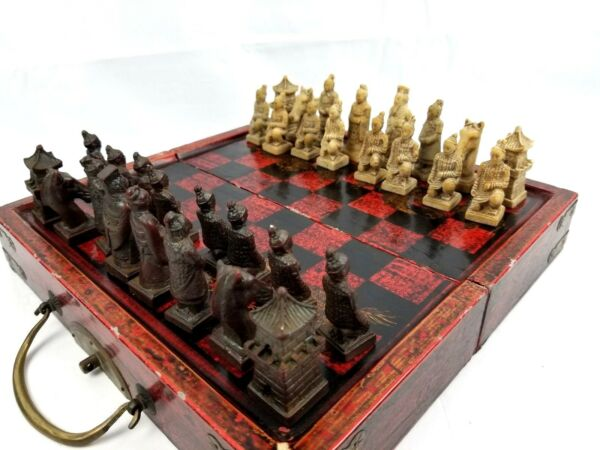 Vintage Chinese Terracotta Warriors Case Style Chess Set Wood Box