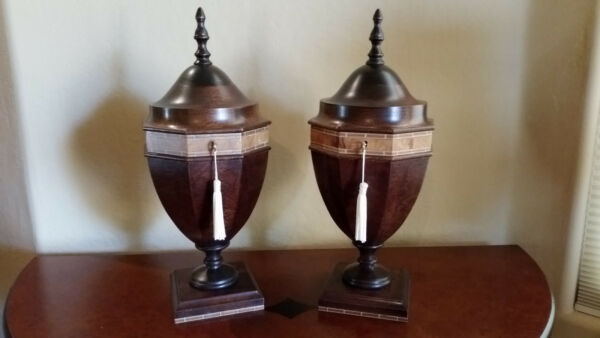 Vintage Pair of Small Knife Cutlery Silverware Urns Knife Boxes in Exotic Woods