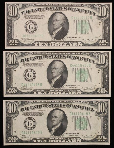 Three 3 Sequential Consecutive numbered 1934 $10 Federal Reserve Notes AU
