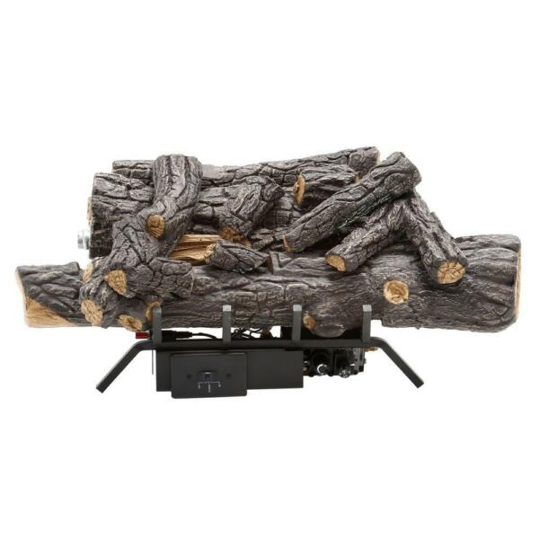 Savannah Oak 18 in. Vent-Free Natural Gas Fireplace Logs w Remote By Emberglow