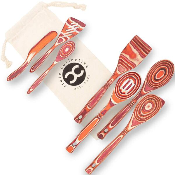 Exotic Pakkawood 7-Piece Utensil Set with Spoons Spatulas and Spreaders