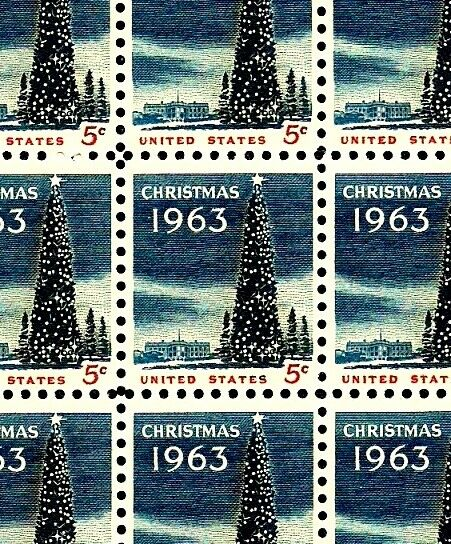 CHRISTMAS TREE 1963 Full Mint MNH Sheet of 100 Postage Stamps #1240