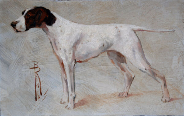 Boris RIAB Signed PAINTING Pointer on the point c 1945 - Hunting Dog