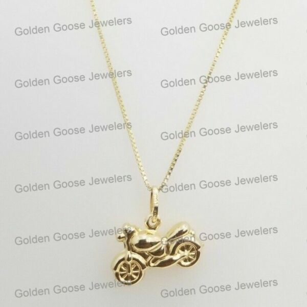 Free Chain Real 14k Yellow Gold Heavy Bike Double Sided Pendant Charm Unisex $149.92
