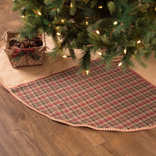 New Primitive Rustic Red BURLAP TARTAN PLAID Patchwork Christmas Tree Skirt 21quot;