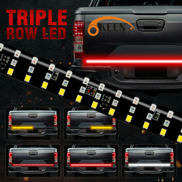 6 Modes 432LED Truck Strip Tailgate Light Bar 3Row Reverse Brake Signal Tail 60quot;