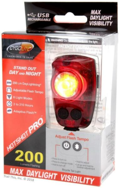 CygoLite Hotshot Pro 200 Lumens LED Bicycle Rear Tail Light USB Rechargeable $32.85