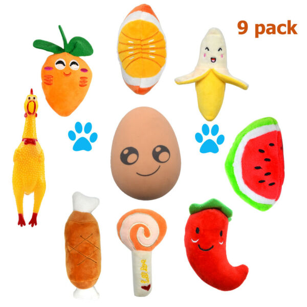 9PCS Cute Soft Pet Puppy Chew Play Squeaker Squeaky Plush Sound For Dog Toys