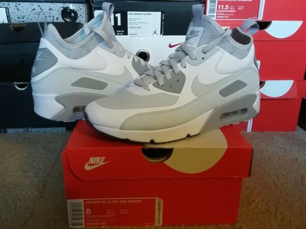 Nike Air Max 90 Ultra Mid Winter White Pure Platinum Wolf Grey Boots 924458 100