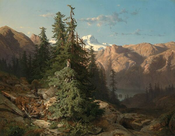 Handmade Oil Painting repro Alexandre Calame In the Bernese Oberland