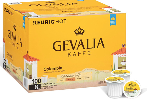 Gevalia Kaffe Colombia Coffee 100 K-Cups Keurig Arabica Medium Roast Columbian