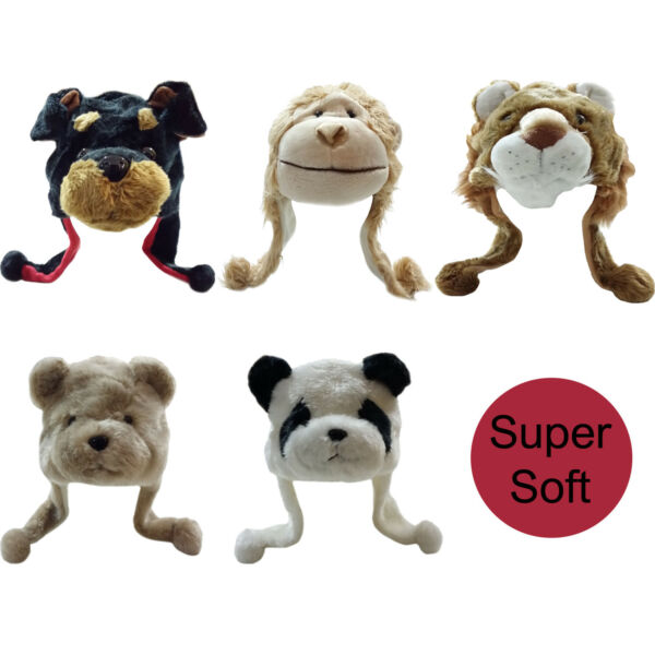 Boy's Girl's Cute Animal Hats with Pom Poms Perfect for Winter Warm and Comfy