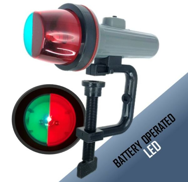 Marine Boat Kayak Portable Clamp Green Red LED Navigation Bow Light 2D Battery $19.99