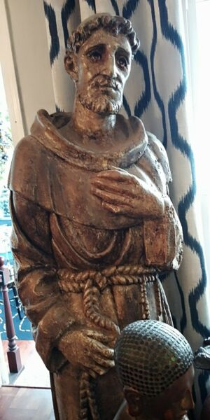 ANTIQUE RELIGIOUS RESTORED LIFE SIZE WOODEN SANTOSSTATUE WGLASS EYES 72