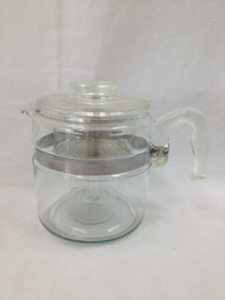 Complete Vintage Pyrex Flameware Glass Stovetop 6 Cup Coffee Maker Percolator
